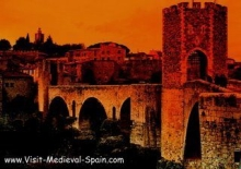 The medieval bridge at Besalu Spain